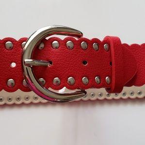 ELLEN TRACY Red Studded Women's Belt